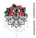 rose tattoo  mystic symbol.... | Shutterstock .eps vector #1296952414