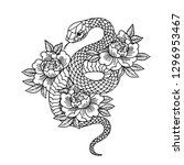 tattoo with rose and snake.... | Shutterstock .eps vector #1296953467