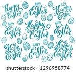 happy easter eggs | Shutterstock . vector #1296958774