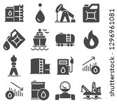 petrol icons set. oil pump and... | Shutterstock .eps vector #1296961081