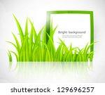green frame in grass | Shutterstock .eps vector #129696257