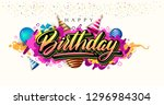 happy birthday celebration... | Shutterstock .eps vector #1296984304