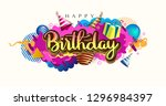 happy birthday celebration... | Shutterstock .eps vector #1296984397