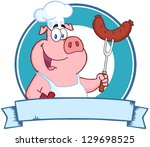 Happy Pig Chef Holding A...