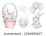 Stock photo hand drawn watercolor happy easter set with bunnies design rabbit bohemian style isolated boho 1296985627