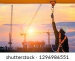 construction worker wearing... | Shutterstock . vector #1296986551