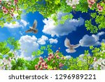 pigeons flying among the spring ... | Shutterstock . vector #1296989221