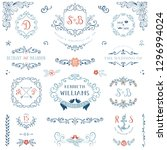 floral wreaths  monograms and... | Shutterstock .eps vector #1296994024