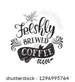 banner with coffee quotes .... | Shutterstock . vector #1296995764