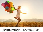 young happy woman with balloons ... | Shutterstock . vector #1297030234