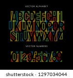 colorful letters and numbers... | Shutterstock .eps vector #1297034044