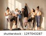multiracial excited girls in...   Shutterstock . vector #1297043287