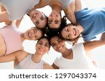 low angle shot of multiracial... | Shutterstock . vector #1297043374