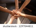 top view of multiracial women... | Shutterstock . vector #1297044811