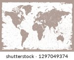 grunge world map.vintage map of ... | Shutterstock .eps vector #1297049374