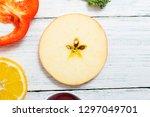 sliced fruit and vegetable... | Shutterstock . vector #1297049701