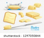 butter sticks and slices... | Shutterstock .eps vector #1297050844