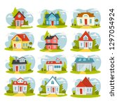 set of cozy houses. city... | Shutterstock .eps vector #1297054924