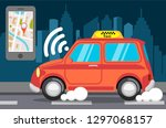 smart taxi vector flat style... | Shutterstock .eps vector #1297068157