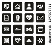insurance policy icons white on ... | Shutterstock .eps vector #1297075711