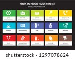 set of 15 flat health and... | Shutterstock .eps vector #1297078624