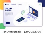 authentication isometric... | Shutterstock .eps vector #1297082707