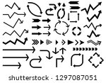 black arrows collection. set of ... | Shutterstock . vector #1297087051
