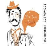 Stock vector cartoon gentleman with tea cup 1297094221