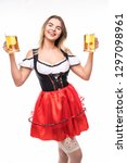 happy beautiful bavarian... | Shutterstock . vector #1297098961