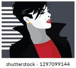 fashion woman in style pop art. | Shutterstock .eps vector #1297099144