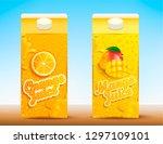set of two juice carton... | Shutterstock .eps vector #1297109101