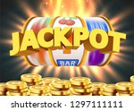 golden slot machine with flying ... | Shutterstock .eps vector #1297111111