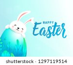happy easter card with big 3d... | Shutterstock .eps vector #1297119514