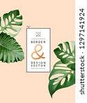 minimal botanical palm leaves... | Shutterstock .eps vector #1297141924