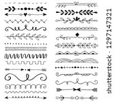 hand drawn set of line border... | Shutterstock .eps vector #1297147321