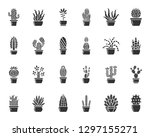 cactus silhouette icons set.... | Shutterstock .eps vector #1297155271