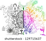 brain sketchy doodles about the ... | Shutterstock .eps vector #129715637