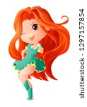 Figure Chibi girl with red long hair in a turquoise dress with yellow cuffs and turquoise boots.