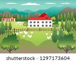 rural valley view farm...   Shutterstock .eps vector #1297173604