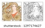 portrait of a woman with long... | Shutterstock .eps vector #1297174627