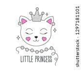cute kitten illustration.... | Shutterstock .eps vector #1297181101