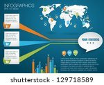 3d vector world map... | Shutterstock .eps vector #129718589