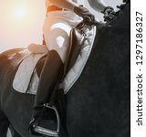 lleather saddle jockey on... | Shutterstock . vector #1297186327