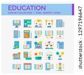 education icons set. ui pixel... | Shutterstock .eps vector #1297196647