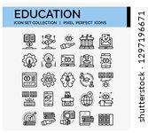 education icons set. ui pixel... | Shutterstock .eps vector #1297196671