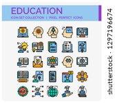 education icons set. ui pixel... | Shutterstock .eps vector #1297196674