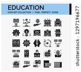 education icons set. ui pixel... | Shutterstock .eps vector #1297196677