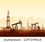 oil pumps and drilling rigs... | Shutterstock .eps vector #1297199614