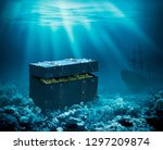treasures on the seabed. sunken ... | Shutterstock . vector #1297209874
