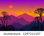 Abstract Mountain Forest On...